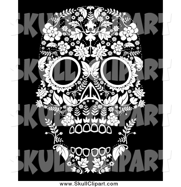 Vector Clip Art of a White Flowered Day of the Dead Skull on Black