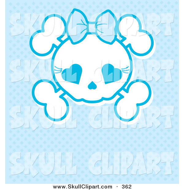 Vector Clip Art of a White Girly Skull with a Bow on Blue