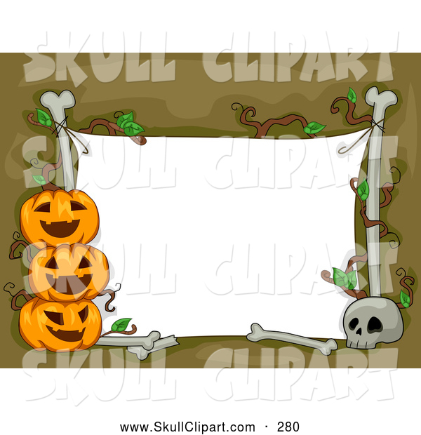 Vector Clip Art of a White Halloween Sign with Bones and Cheerful Jack O Lanterns
