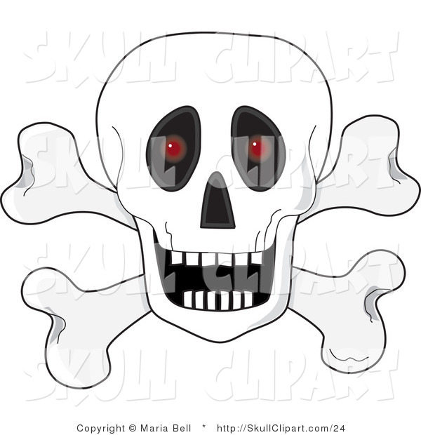 Vector Clip Art of a White Human Skull over Crossbones, with an Open Mouth and Red Glowing Eyes Set Back in the Sockets
