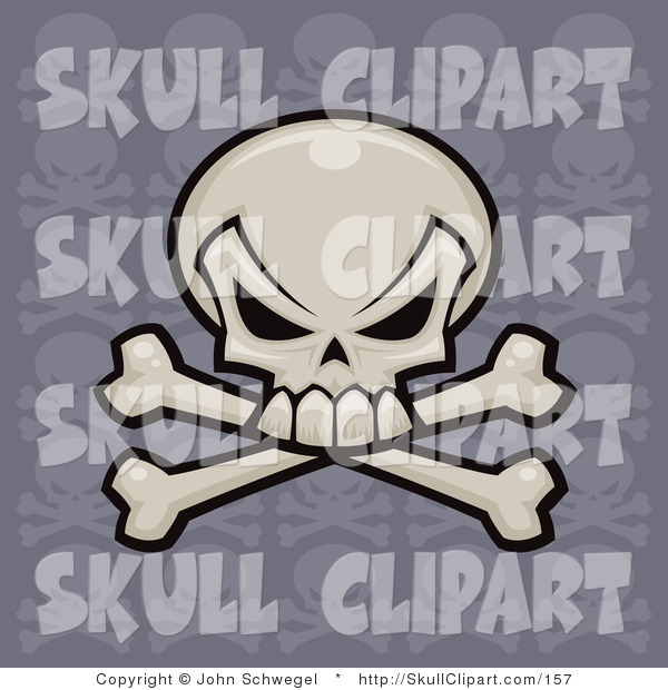 Vector Clip Art of a White Skull and Crossbones with a Repeat Pattern Purple Background