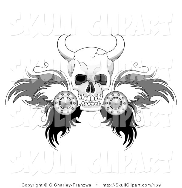 Vector Clip Art of a White Viking Skull with Feathered Wings