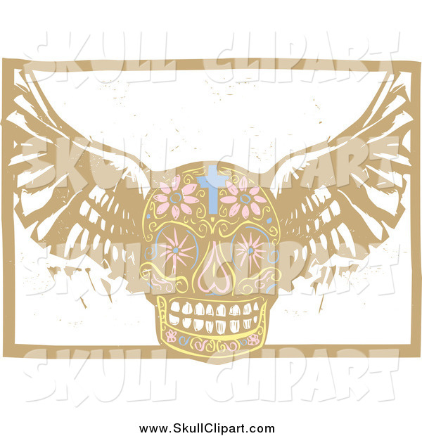 Vector Clip Art of a Winged Day of the Dead Skull