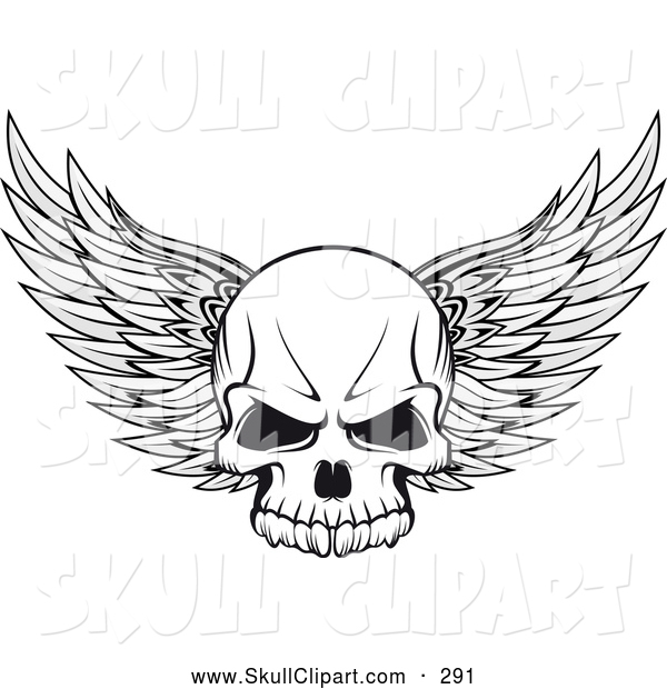 Vector Clip Art of a Winged Skull Outline