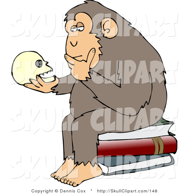 "Vector Clip Art of a Wise Monkey Holding and Gazing at a Human Skull, Contemplating His Own Existence, a Parody of Hugo Rheinhold's ""Philosophizing Ape"" Sculpture That Was Created in 1892"
