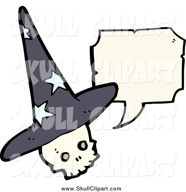 Vector Clip Art of a Wizard Skull Talking