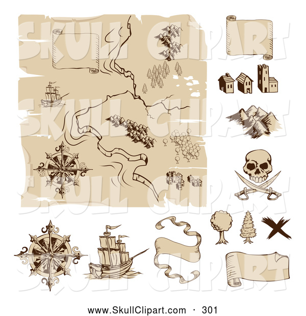 Vector Clip Art of a Worn Old Pirate Treasure Map and Design Elements