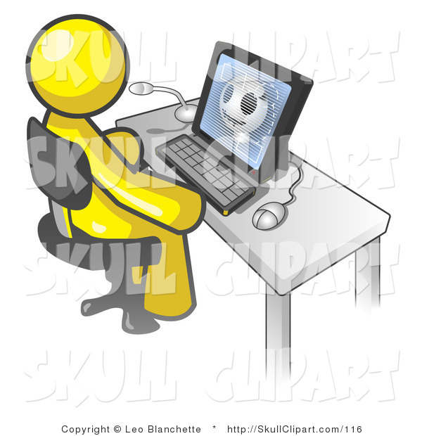 Vector Clip Art of a Yellow Doctor Man Sitting in Front of a Computer and Viewing an Xray of a Head
