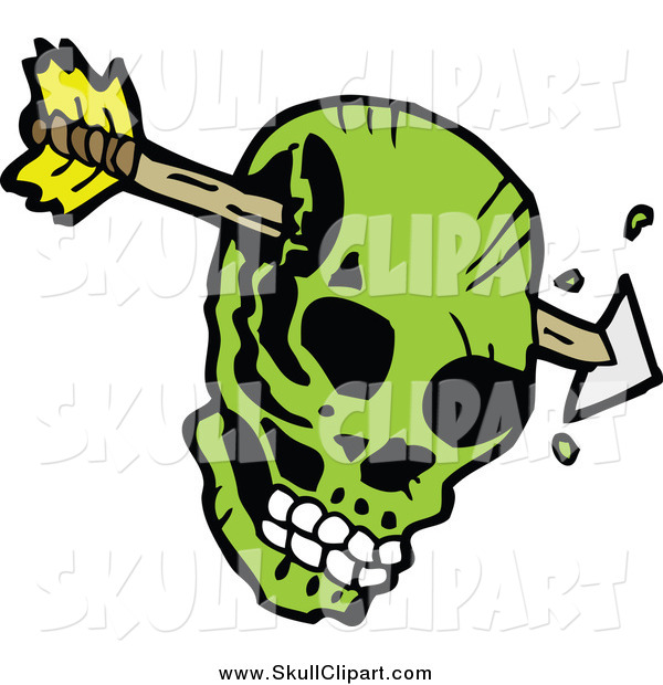 Vector Clip Art of an Arrow Through a Green Skull