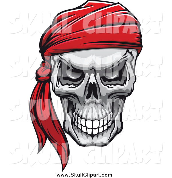 Vector Clip Art of an Evil Human Skull with a Red Bandana