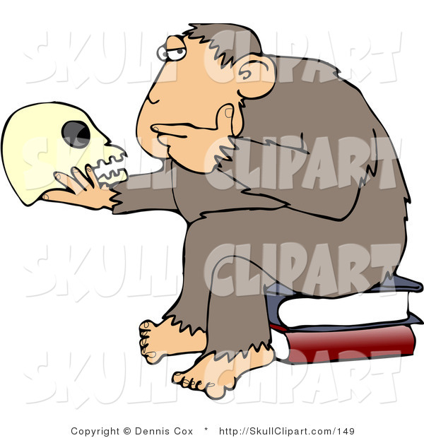 "Vector Clip Art of an Intelligent Monkey Looking at a Human Skull in His Hand, While Sitting on a Pile of Books, a Parody of Hugo Rheinhold's ""Philosophizing Ape"" Sculpture That Was Created in 1892"