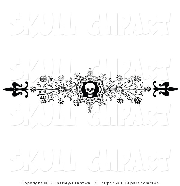 Vector Clip Art of an Ornate Black and White Skull and Flower Flourish Header, Divider, Banner or Lower Back Tattoo Design
