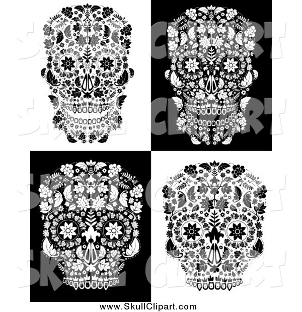 Vector Clip Art of Black and White Floral Day of the Dead Skulls
