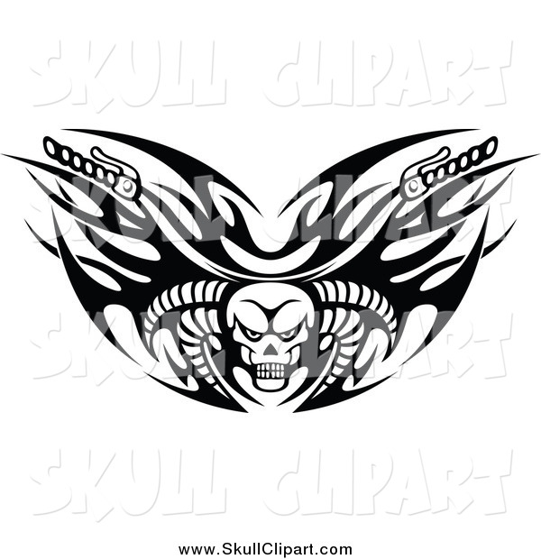 Vector Clip Art of Black and White Tribal Flaming Skull Motorcycle Biker Handlebars with Horns
