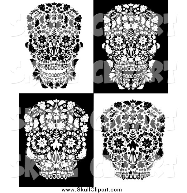 Vector Clip Art of Flowered Day of the Dead Skulls in Black and White