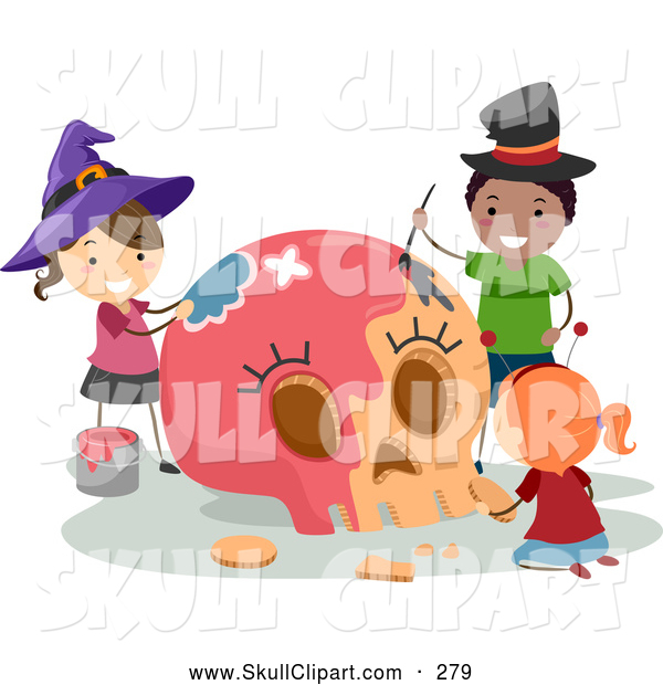 Vector Clip Art of Halloween Stick Kids Painting a Large Carved Pumpkin Skull