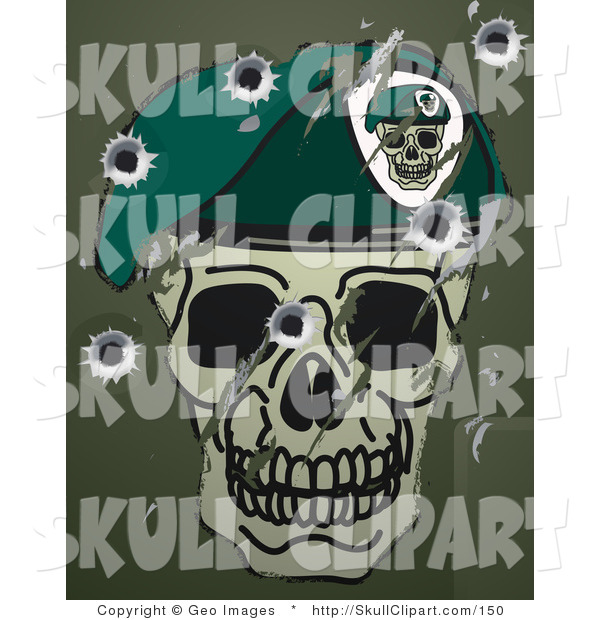 Vector Clip Art of Scratches, Scuffs and Bullet Holes on a Metallic Surface with a Skull and Beret Military Motif