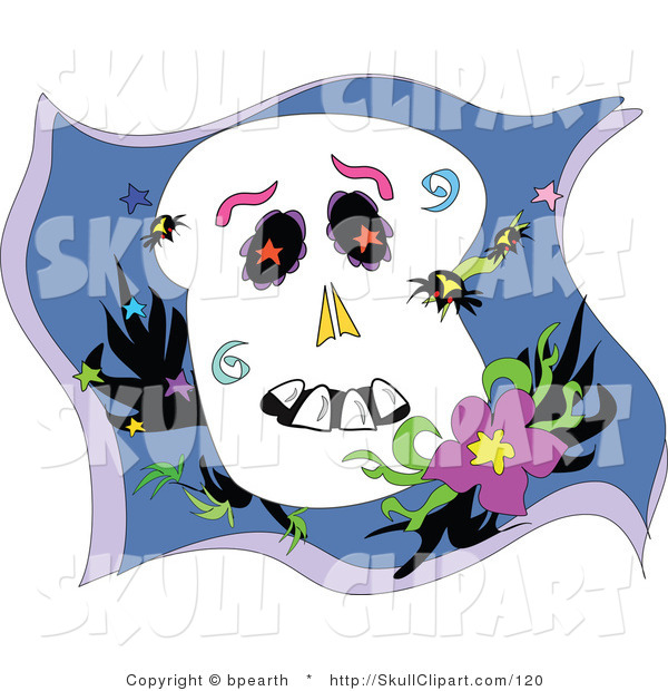 Vector Clip Art of Spiders Crawling All over a Cartoon Skull Resting by a Flower
