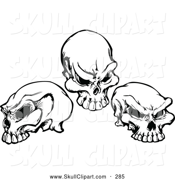 Vector Clip Art of Three Black and White Skulls - Tattoo Designs by ...