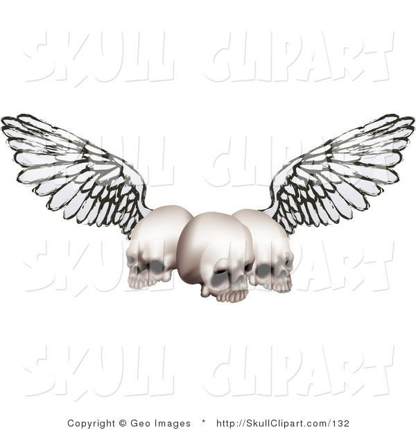 Vector Clip Art of Three Human Skulls with Outspread Wings