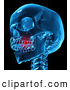 Clip Art of a 3d Blue Skull with a Painful Tooth Ache by Mopic
