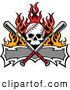 Clip Art of a Flaming Fiery Baseball Skull with Crossed Bats and a Banner by Chromaco