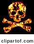 Clip Art of a Flaming Skull with Crossbones over Black by Arena Creative