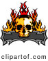Clip Art of a Scary Skull and Blank Banner with Flames by Chromaco
