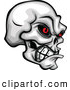 Clip Art of a Spooky Demonic Skull Clenching Its Jaw by Chromaco