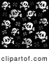 Vector Clip Art of a Black and White Skull and Crossbone Patterned Background by Visekart