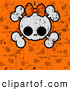Vector Clip Art of a Cute Halloween Skull and Cross Bones with a Bow over Grungy Orange Polka Dots by Pushkin