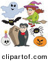 Vector Clip Art of a Digital Collage of Halloween Items on a White Background by Visekart