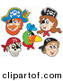Vector Clip Art of a Digital Collage of Pirate Items on a White Background by Visekart