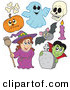 Vector Clip Art of a Digital Set of Halloween Characters by Visekart