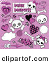 Vector Clip Art of a Digital Set of Punk Princess Skulls and Comic Icons on Purple with Halftone by Pushkin