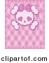 Vector Clip Art of a Girly Skull with Heart Eyes over a Pink Pattern by Pushkin