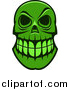 Vector Clip Art of a Green Monster Skull by Vector Tradition SM