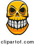 Vector Clip Art of a Grinning Orange Monster Skull by Vector Tradition SM