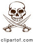 Vector Clip Art of a Grinning Pirate Skull over Crossed Swords by AtStockIllustration