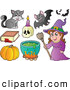 Vector Clip Art of a Group of Halloween Icons - a Witch with Halloween Items by Visekart