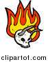 Vector Clip Art of a Horned Skull with Flames by Lineartestpilot