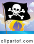 Vector Clip Art of a Jolly Roger Pirate Flag and Ship Sailing Away at Sunset by Visekart
