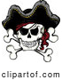Vector Clip Art of a Mad Jolly Roger Pirate Skull and Cross Bones with a Hat by Visekart