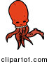 Vector Clip Art of a Red Skull Head Octopus Monster by Lineartestpilot