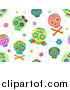 Vector Clip Art of a Seamless Background of Colorful Sugar Skulls on White by BNP Design Studio