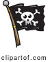 Vector Clip Art of a Skull Jolly Roger Pirate Flag on White by Jtoons