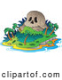 Vector Clip Art of a Skull Mountain Tropical Island and Ocean by Visekart