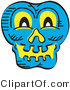 Vector Clip Art of a Smiling Blue Halloween Skull Glowing with Yellow Light by Andy Nortnik