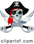 Vector Clip Art of a Spooky Pirate Skull and Crossed Swords Jolly Roger by Pushkin