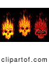 Vector Clip Art of a Trio of Flaming Skulls on Black by Vector Tradition SM